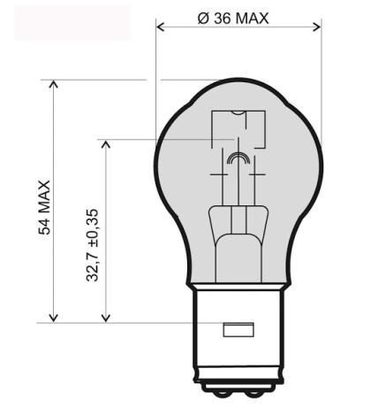 Bec para 12V-45/40W /RMS 0325